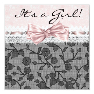 Pink Black Lace Pink Black Baby Girl Shower 5.25x5.25 Square Paper Invitation Card