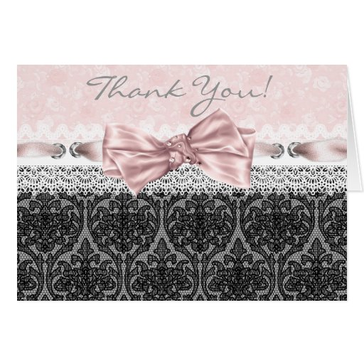 Pink Black Lace Pink Black Thank You Cards