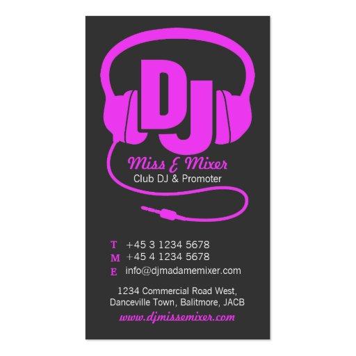 Pink & black ladies DJ promoter business card