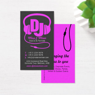 Girl dj business cards templates zazzle pink amp black ladies dj promoter business card reheart Choice Image
