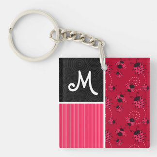 Pink & Black Ladybug Square Acrylic Keychain