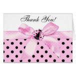 Pink Black Ladybug Thank You Cards Note Card
