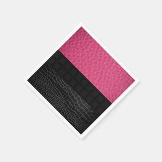 Pink Black Leather Standard Cocktail Napkin