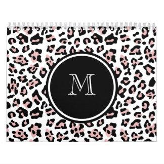 Pink Black Leopard Animal Print with Monogram Wall Calendar