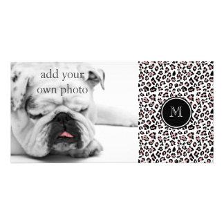Pink Black Leopard Animal Print with Monogram Card