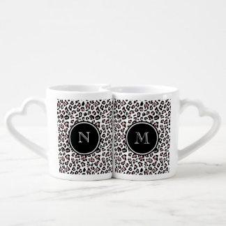 Pink Black Leopard Animal Print with Monogram Coffee Mug Set