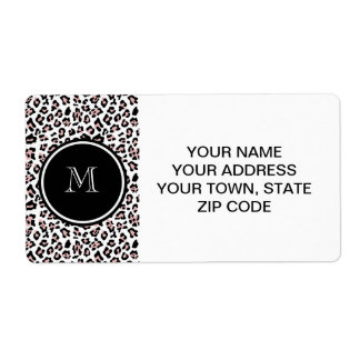 Pink Black Leopard Animal Print with Monogram Label