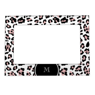 Pink Black Leopard Animal Print with Monogram Magnetic Frame