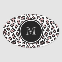 Pink Black Leopard Animal Print with Monogram Oval Sticker