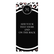 Pink Black Leopard Animal Print with Monogram Rack Card