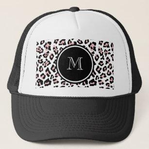 e2a22848552 Pink Black Leopard Animal Print with Monogram Trucker Hat