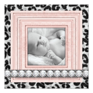 Pink Black Leopard Baby Girl Birth Announcements