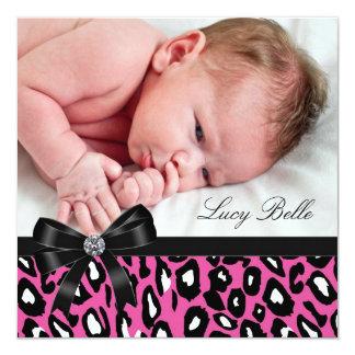 Pink Black Leopard Baby Girl Photo Birth Card
