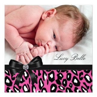 Pink Black Leopard Baby Girl Photo Birth Custom Invitations