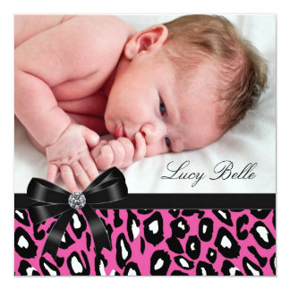 Pink Black Leopard Baby Girl Photo Birth 5.25x5.25 Square Paper Invitation Card