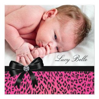 Pink Black Leopard Baby Girl Photo Birth Custom Announcement