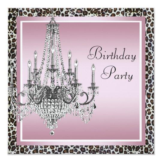 Pink Black Leopard Chandelier Birthday Party Card