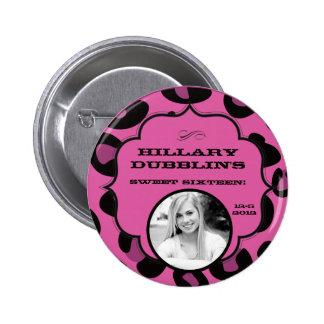 Pink Black Leopard Cheetah Print Photo Button