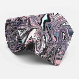 Pink, black, lilac marbled swirl necktie