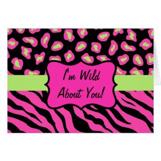 Pink, Black & Lime Green Zebra & Cheeta Skin Card