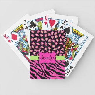 Pink, Black & Lime Green Zebra & Cheetah Skins Bicycle Playing Cards