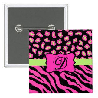 Pink, Black & Lime Green Zebra & Cheetah Skins 2 Inch Square Button