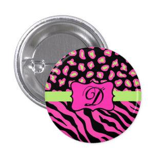 Pink, Black & Lime Green Zebra & Cheetah Skins Button