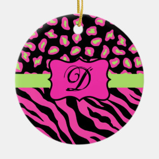 Pink, Black & Lime Green Zebra & Cheetah Skins Ceramic Ornament