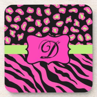 Pink, Black & Lime Green Zebra & Cheetah Skins Drink Coaster