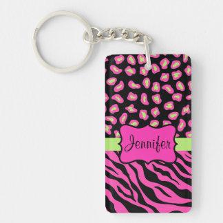 Pink, Black & Lime Green Zebra & Cheetah Skins Double-Sided Rectangular Acrylic Keychain