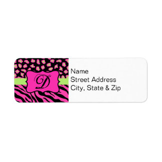 Pink, Black & Lime Green Zebra & Cheetah Skins Label