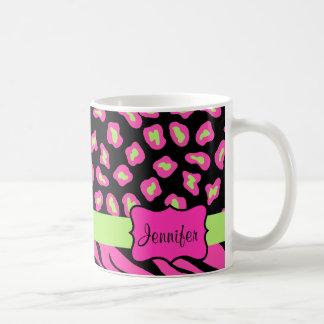 Pink, Black & Lime Green Zebra & Cheetah Skins Classic White Coffee Mug