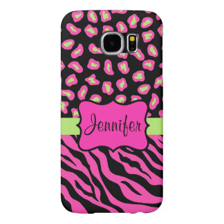 Pink, Black Lime Green Zebra Leopard Skins Name Samsung Galaxy S6 Cases