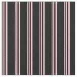 [ Thumbnail: Pink & Black Lined/Striped Pattern Fabric ]
