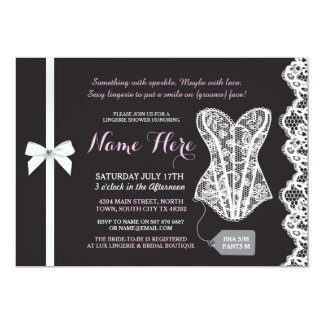 Pink & Black Lingerie Shower Lace Corset Invite