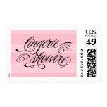 Pink Black Lingerie Shower Postage Stamp