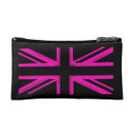 Pink black London flag style cosmetic bag