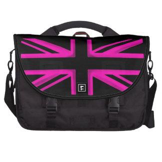 Pink black London style wheeled laptop bag