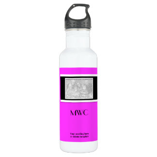 """Pink black """"make your own"""" custom template 24oz water bottle"""