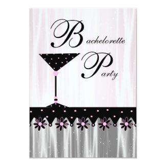 """Pink Black Martini Bachelorette Party Invitations 5"""" X 7"""" Invitation Card"""