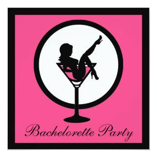 """Pink black martini glass girl bachelorette invites 5.25"""" square invitation card"""