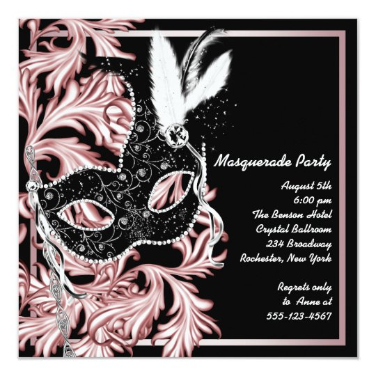Pink Black Mask Pink Masquerade Party Card