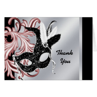 Pink Black Masquerade Party Thank You Cards