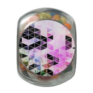 Pink & Black Modern Triangle Design Glass Candy Jar
