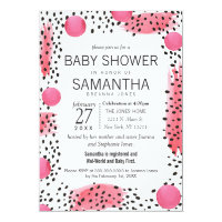 Pink Black Modern Watercolor Abstract Baby Shower Card