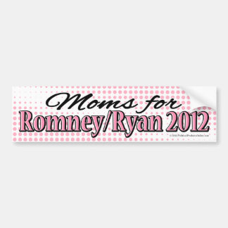 Pink/Black Moms for Romney/Ryan Bumper Sticker