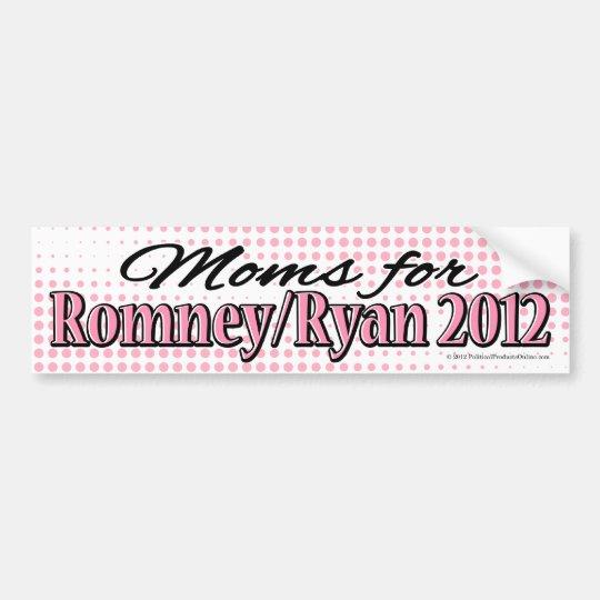 Pink/Black Moms for Romney/Ryan Bumper Sticker