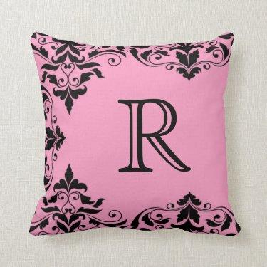 Pink & Black Monogram Damask Pillow