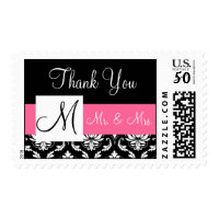 Pink, Black Monogram Damask Wedding Thank You Postage