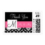 Pink, Black Monogram Damask Wedding Thank You Postage Stamps